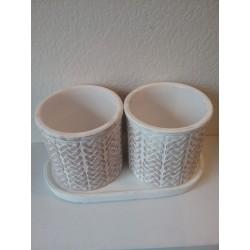 2 cache pots + soucoupe